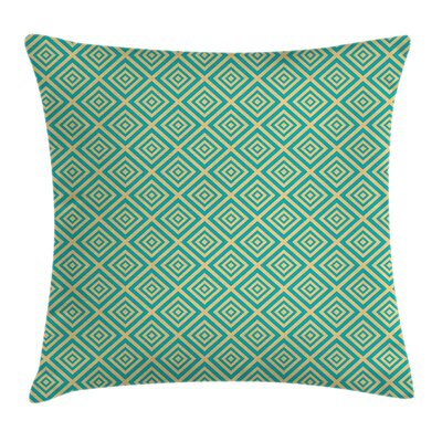 Art Deco Diamond Retro Image Pillow Cover Size: 16 x 16