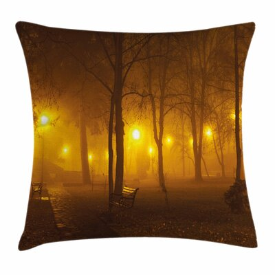 Fall Decor Foggy Evening Park Square Pillow Cover Size: 16 x 16