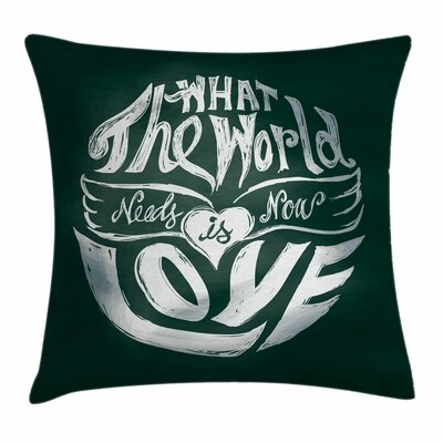 Hippie Grunge Art Quote Circle Square Pillow Cover Size: 16 x 16