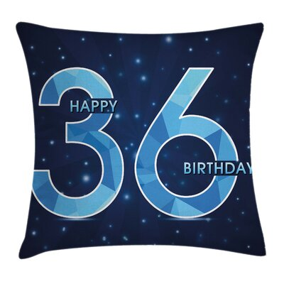 Birthday Space Party Theme Square Pillow Cover Size: 18 x 18