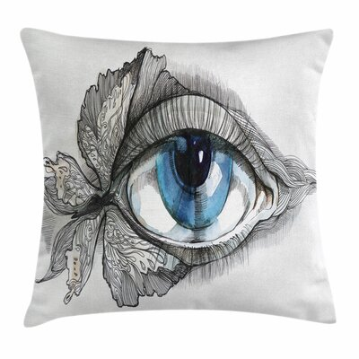 Eye Human Eye Butterfly Dreamy Square Pillow Cover Size: 24 x 24