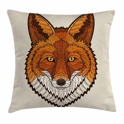 Fox Mascot Face Mosaic Style Square Pillow Cover Size: 16 x 16