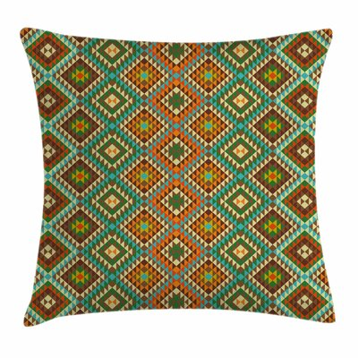 Indian Mosaic Folkloric Ethnic Square Pillow Cover Size: 16 x 16