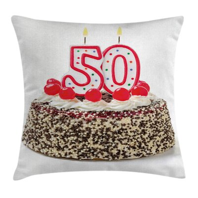 Celebration Creamy Cherry Cake Pillow Cover Size: 18 x 18