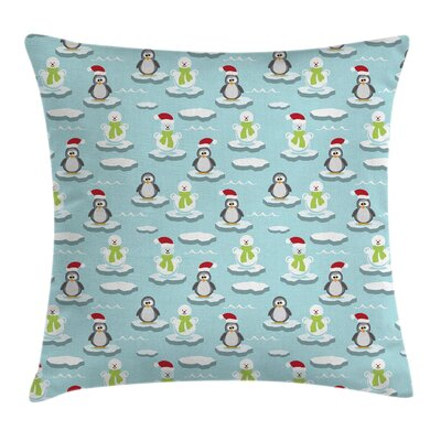 Kids Penguin Snowman Ice Floe Pillow Cover Size: 24 x 24
