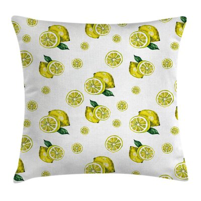 Kitchen Lemon Slices Leaves Pillow Cover Size: 18 x 18