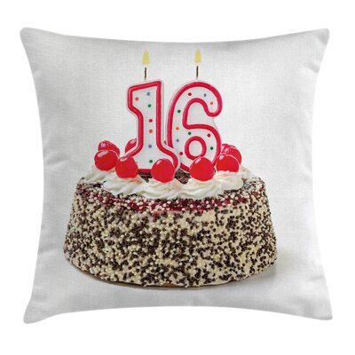 Birthday Cake Candles Cherry Square Pillow Cover Size: 16 x 16