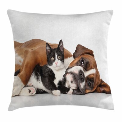 Funny Cute Cat Dog Friendship Square Pillow Cover Size: 16 x 16
