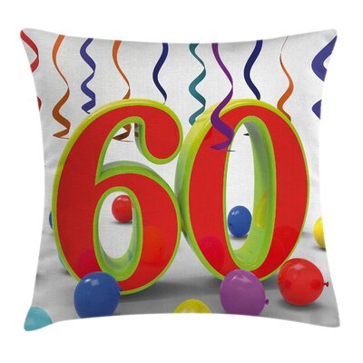Colorful Party Confetti Swirls Square Pillow Cover Size: 16 x 16