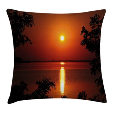 Nature Sunset Reflection on Sea Pillow Cover Size: 24