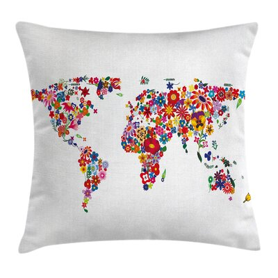 Hippie Atlas Flowers Growth Pillow Cover Size: 18 x 18