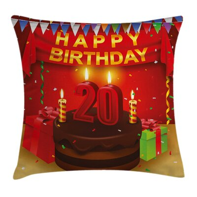 Colorful Birthday Boxes Flags Square Pillow Cover Size: 16 x 16