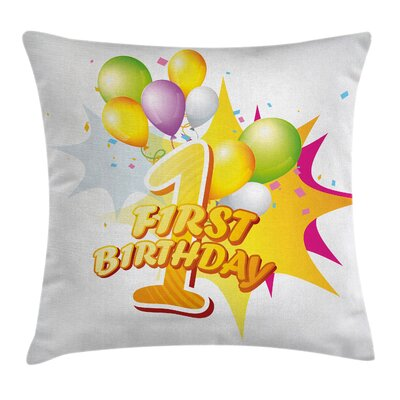Celebration Baby Birthday Party Square Pillow Cover Size: 16 x 16