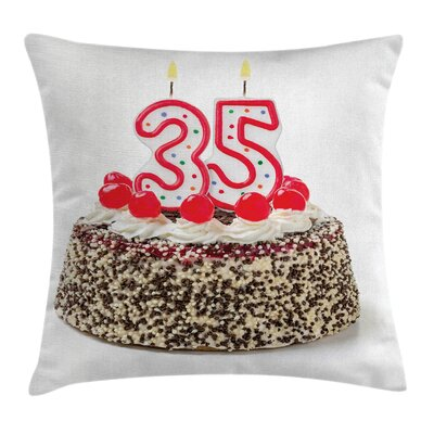 Kitchen Age Thirty Five Cake Square Pillow Cover Size: 24 x 24