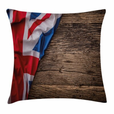 Union Jack Flag on Oak Board Square Pillow Cover Size: 20 x 20