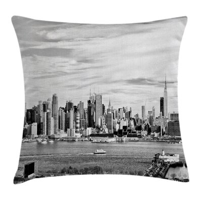 New York Modern City Panorama Pillow Cover Size: 18 x 18