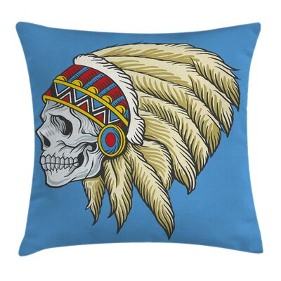Tribal Skull with Feathers Folk Pillow Cover Size: 24 x 24