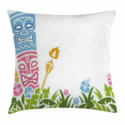 Tiki Bar Decor Statues Hibiscus Square Pillow Cover Size: 16 x 16