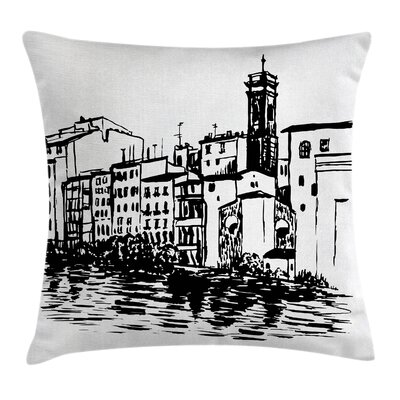 Sketchy Venice City Historical Pillow Cover Size: 18