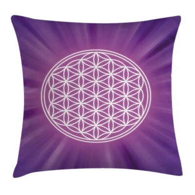 Sacred Geometry Overlap Circles Pillow Cover Size: 24 x 24
