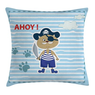 Turquoise Cute Cat Pirate Ahoy Square Pillow Cover Size: 16 x 16