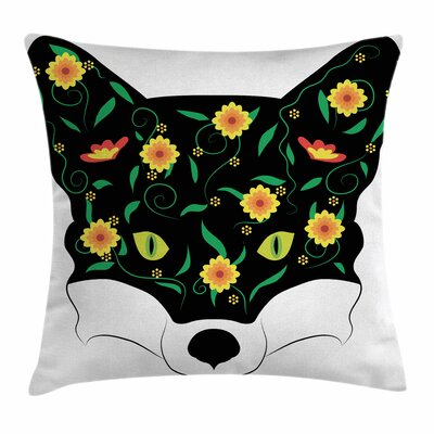 Fox Artistic Portrait Flowers Square Pillow Cover Size: 16 x 16
