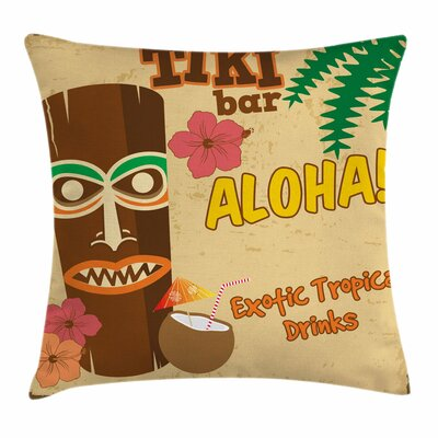 Tiki Bar Decor Old Statue Drink Square Pillow Cover Size: 16 x 16