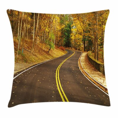 Fall Decor Autumn Scene Roadway Square Pillow Cover Size: 16 x 16