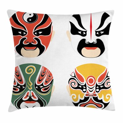 Kabuki Mask Drama Costumes Square Pillow Cover Size: 18 x 18