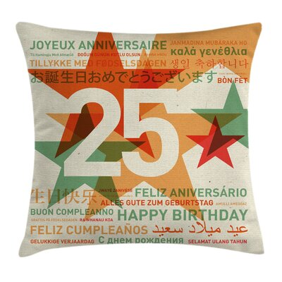 Retro Greetings Twenty Five Square Pillow Cover Size: 18 x 18