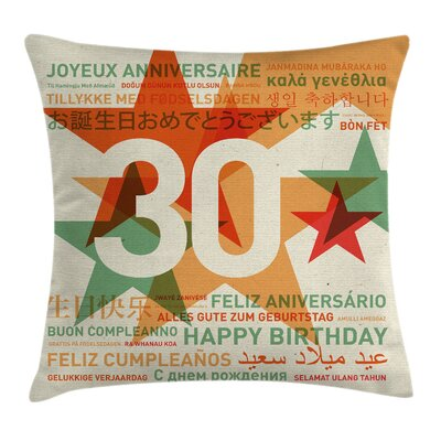 Vintage Celebration Languages Pillow Cover Size: 16 x 16