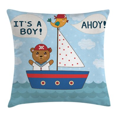 Nautical Baby Shower Bear Boat Square Pillow Cover Size: 18 x 18
