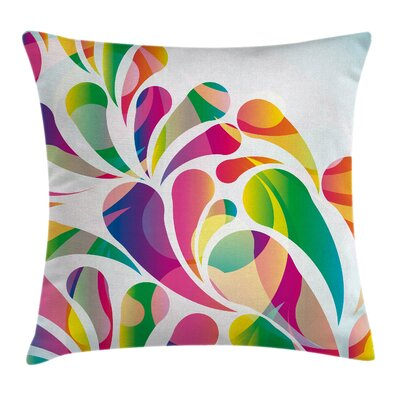 Colorful Leaf Shape Vivid Forms Pillow Cover Size: 24 x 24
