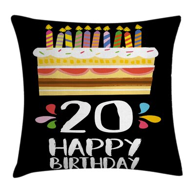 Vintage Party Cake with Candles Square Pillow Cover Size: 16 x 16