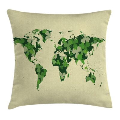 Map Saint Patrick Day Clover Pillow Cover Size: 24 x 24