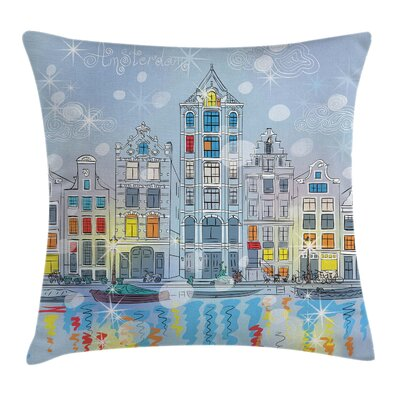 Christmas Amsterdam Canal Xmas Pillow Cover Size: 16 x 16