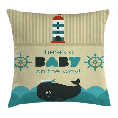 Dolphin Cartoon Gender Reveal Square Pillow Cover Size: 18 x 18