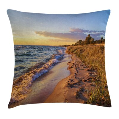 Coastal Sandy Calm Beach Sunset Pillow Cover Size: 16 x 16