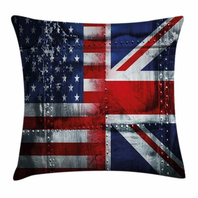 Union Jack Alliance UK and USA Square Pillow Cover Size: 18 x 18
