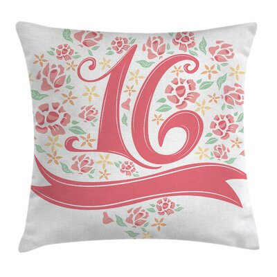 Floral Sweet Sixteen Square Pillow Cover Size: 16 x 16