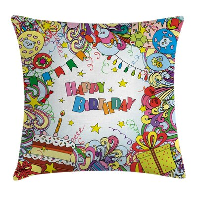 Festive Cartoon Party Square Pillow Cover Size: 16 x 16
