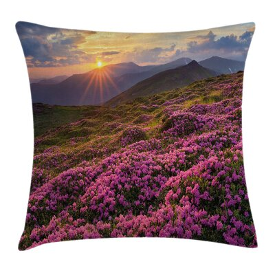 Nature Flower Meadow Mountain Pillow Cover Size: 16 x 16