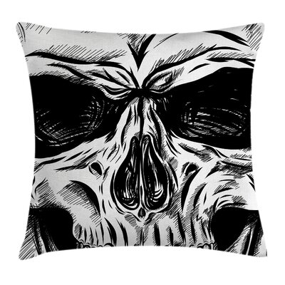 Skull Gothic Sketch Evil Face Pillow Cover Size: 18 x 18