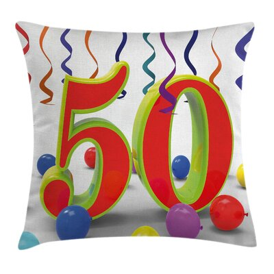 Number Fifty Party Pillow Cover Size: 24 x 24