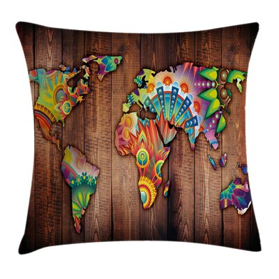 Boho Map on Wooden Rustic Plank Pillow Cover Size: 18 x 18