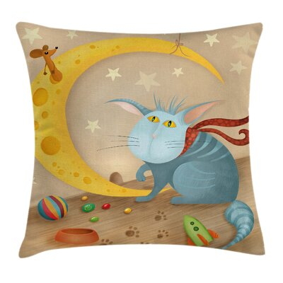 Kids Cat Mouse Crescent Moon Pillow Cover Size: 18 x 18