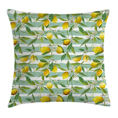Art Decor Blooming Lemon Tree Pillow Cover Size: 18 x 18