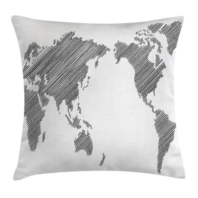World Map Sketchy Continents Square Pillow Cover Size: 16 x 16