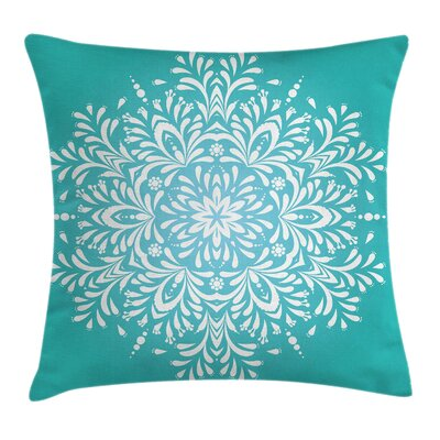 Aqua Indian Winter Snowflake Pillow Cover Size: 18 x 18