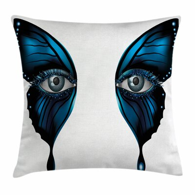 Eye Realistic Female Butterfly Square Pillow Cover Size: 24 x 24